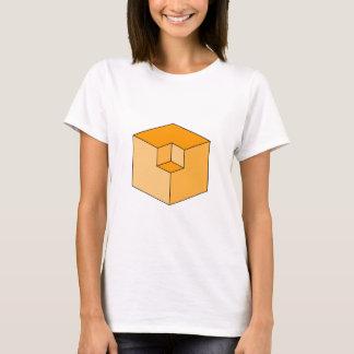 Ilusión óptica - cubos anaranjados playera