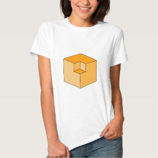 Ilusión óptica - cubos anaranjados poleras