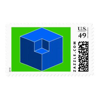 Ilusión óptica - cubos azules franqueo