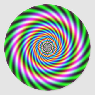 Ilusión óptica de Greenpink Pegatina Redonda