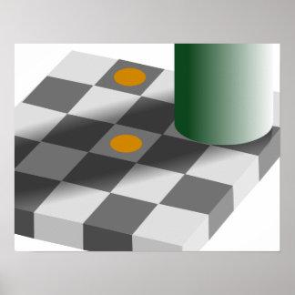 Ilusión óptica de la constancia del color y de bri póster
