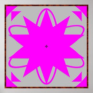 Ilusión óptica de la radiación verde póster