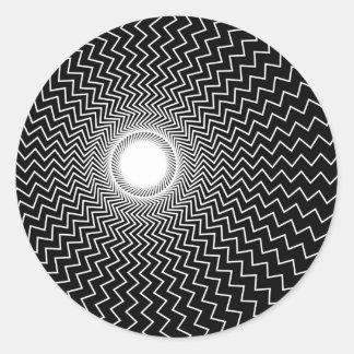 Ilusión óptica de las alucinaciones vivas de pegatina redonda