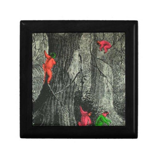 Ilusión óptica de neón del mono del árbol caja de joyas