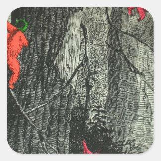 Ilusión óptica de neón del mono del árbol pegatina cuadrada