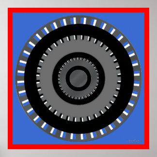 Ilusión óptica de torneado del engranaje póster