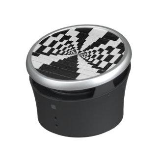 Ilusión óptica del altavoz portátil blanco y negro