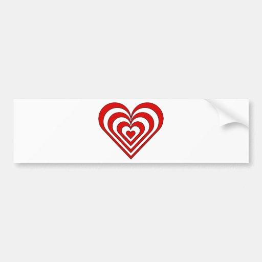 Ilusión óptica del corazón de la cebra etiqueta de parachoque