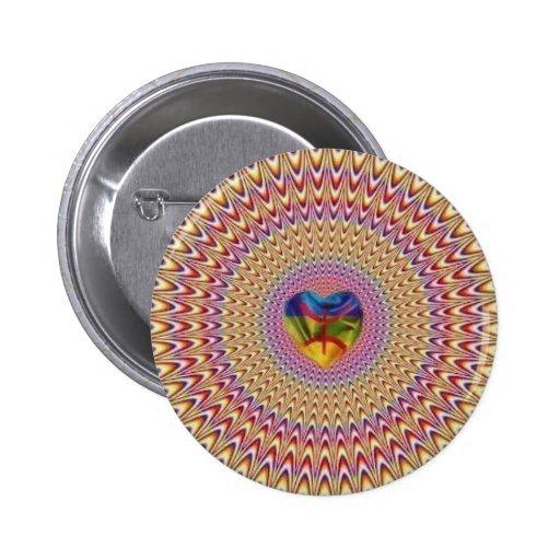 Ilusión óptica del corazón que brilla intensamente pin redondo de 2 pulgadas