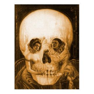 Ilusión óptica del cráneo del kitsch del Victorian Postales