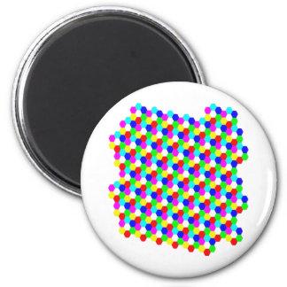 Ilusión óptica del hexágono colorido imán para frigorifico