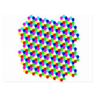 Ilusión óptica del hexágono colorido tarjetas postales