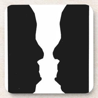 Ilusión óptica del hombre del florero posavaso