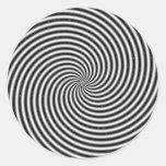 Ilusión óptica del remolino negro y blanco pegatina redonda