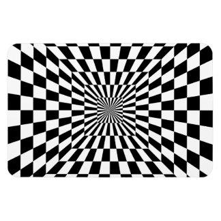Ilusión óptica del tablero de ajedrez rectangle magnet