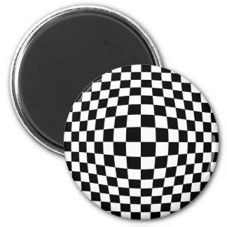 Ilusión óptica del tablero de damas imán redondo 5 cm