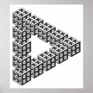 Ilusión óptica del triángulo imposible póster