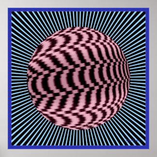 Ilusión óptica Dizzying de la vuelta global Póster