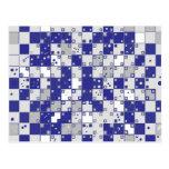 Ilusión óptica en azul y gris tarjeta postal