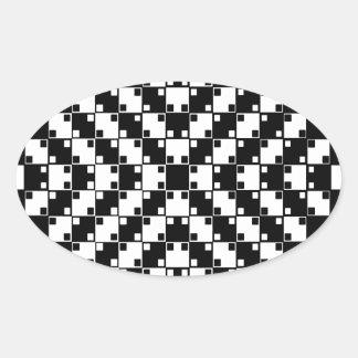 Ilusión óptica en blanco y negro pegatina ovalada