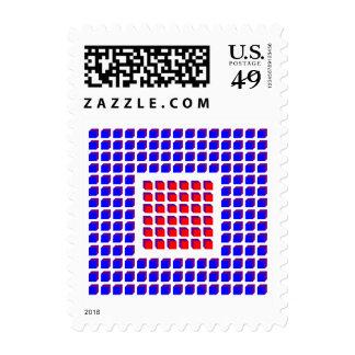 Ilusión óptica en rojo, azul y blanco envio