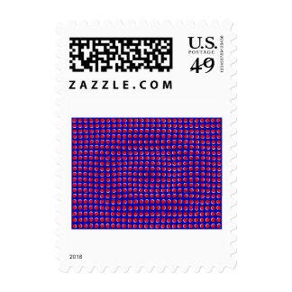 Ilusión óptica en rojo y azul sello