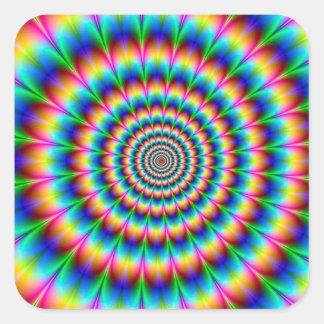 Ilusión óptica espiral del arco iris pegatina cuadrada