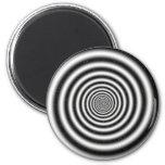 Ilusión óptica espiral negra y blanca imán de frigorífico