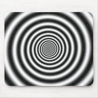 Ilusión óptica espiral negra y blanca alfombrilla de ratones