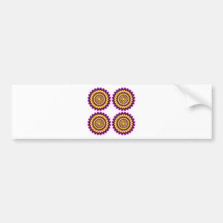 Ilusión óptica floreciente de cuatro flores pegatina de parachoque