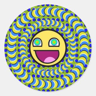 Ilusión óptica giratoria de los anillos pegatina redonda