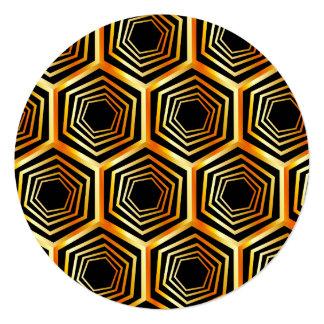 """Ilusión óptica hexagonal de oro invitación 5.25"""" x 5.25"""""""