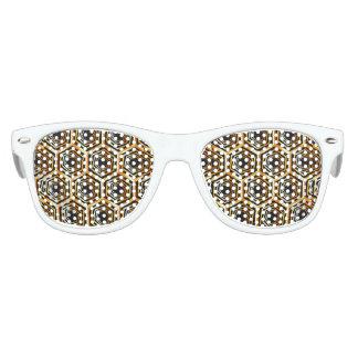 Ilusión óptica hexagonal de oro lentes de sol