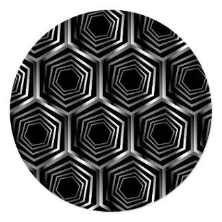 """Ilusión óptica hexagonal de plata invitación 5.25"""" x 5.25"""""""