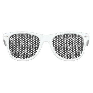 Ilusión óptica hexagonal de plata lentes de sol