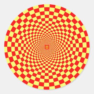 Ilusión óptica hipnótica pegatina redonda