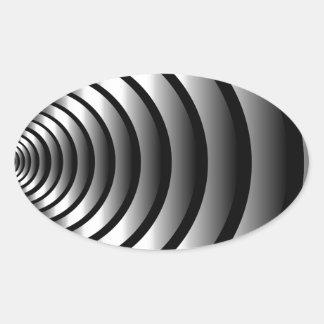 Ilusión óptica metálica pegatina ovalada