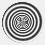 Ilusión óptica negra y blanca etiquetas redondas