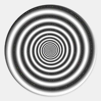Ilusión óptica negra y blanca pegatina redonda