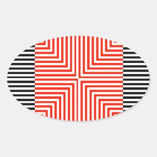 Ilusión óptica para hypnotherapy pegatina ovalada
