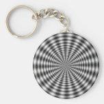 Ilusión óptica rayada del círculo negro y blanco llaveros personalizados