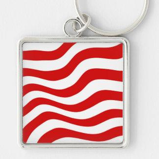 Ilusión óptica: Rayas rojas y blancas onduladas Llavero Cuadrado Plateado