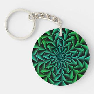 Ilusión óptica redonda de los verdes y de los azul llaveros