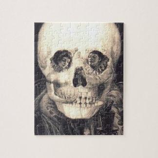 Ilusión óptica retra del amor del cráneo rompecabezas