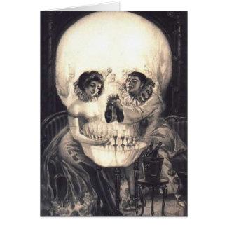 Ilusión óptica retra del amor del cráneo tarjeta de felicitación
