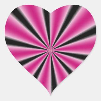 Ilusión óptica rosada pegatina en forma de corazón