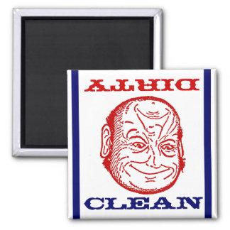 Ilusión óptica sucia limpia del hombre del lavapla imán para frigorifico
