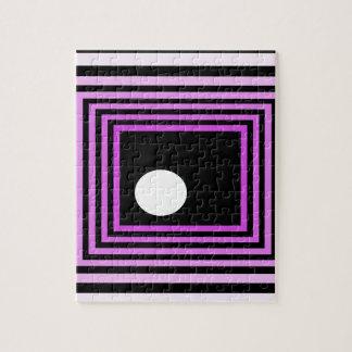 Ilusión óptica urbana púrpura extraña del arte mod rompecabezas