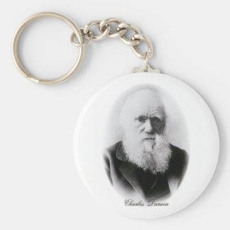 Ilustración de Charles Darwin Llavero Redondo Tipo Pin