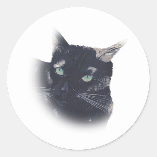 Ilustración de los pegatinas de la cara del gato pegatina redonda